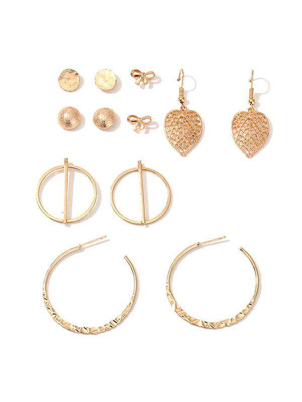 6Pairs Leaf Bowknot Geometry C-shaped Earrings Set - GOLD