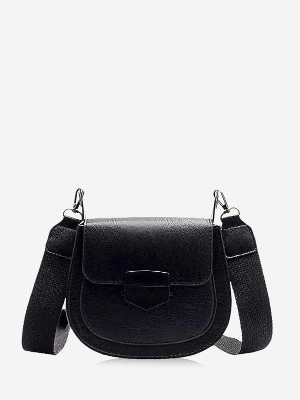 Retro Wide Buckle Cross Body Bag - BLACK