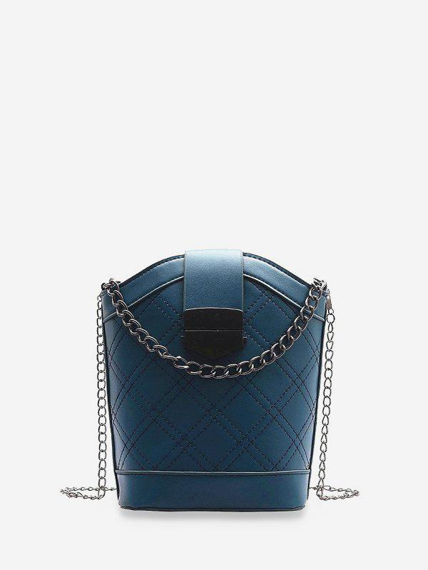Argyle Bucket Shoulder Bag - BLUE