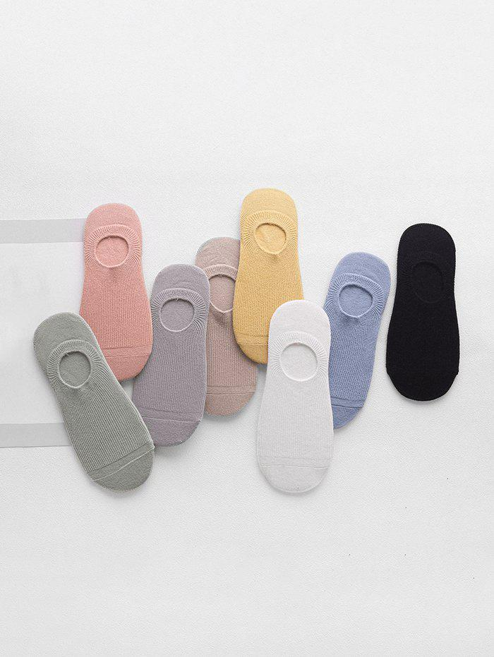 8Pairs Spring Solid Cotton Invisible Socks Set - multicolor A