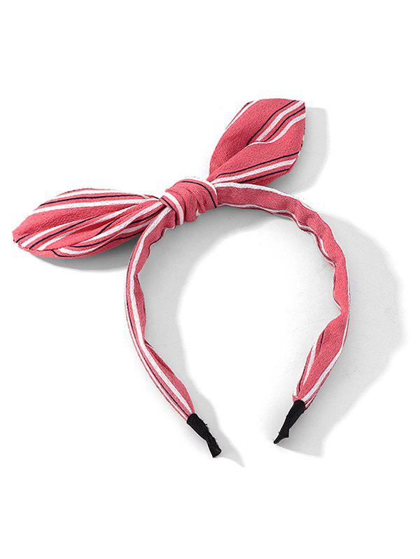 Striped Printed Bowknot Hairband - PINK