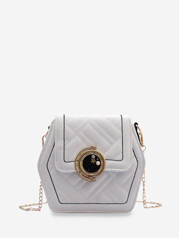 Chain Hexagon Crossbody Bag - WHITE