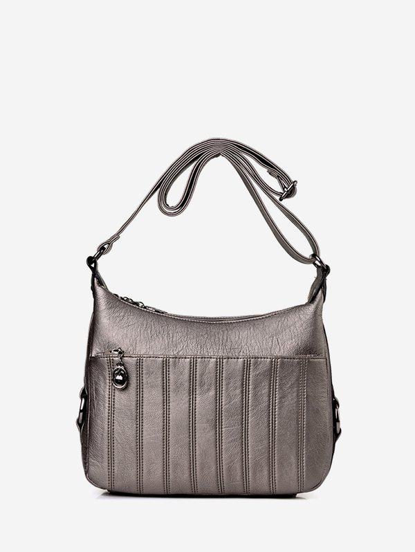 Casual Solid Striped Crossbody Bag - GRAY