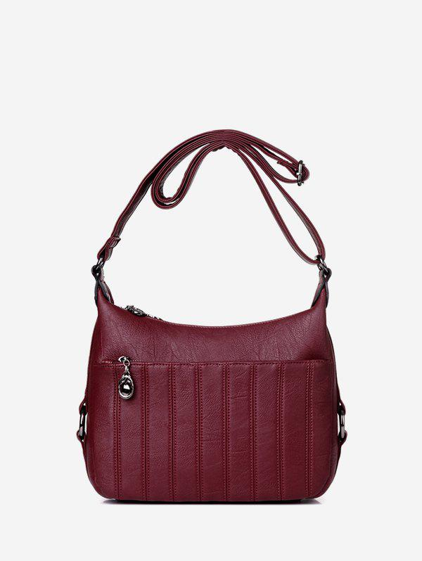 Casual Solid Striped Crossbody Bag - RED WINE