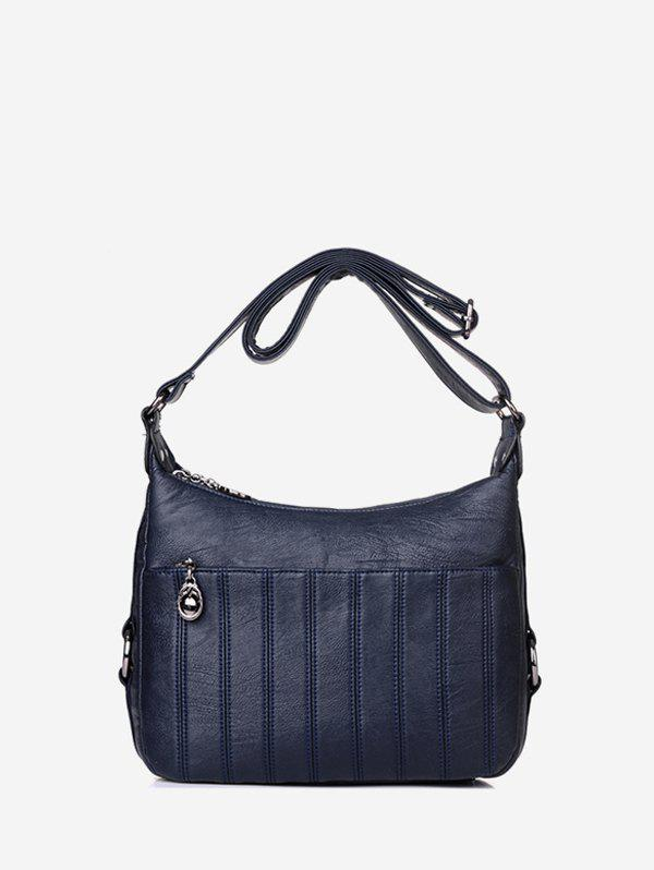 Casual Solid Striped Crossbody Bag - DEEP BLUE