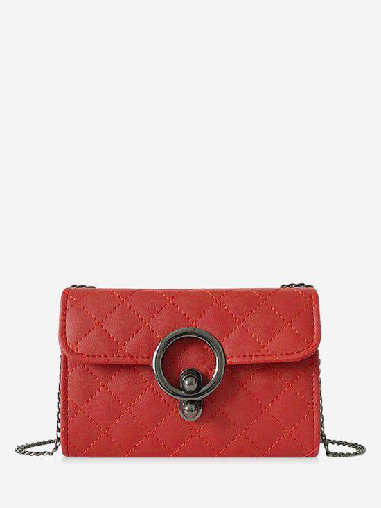 Circle Hasp Chain Quilted Crossbody Bag - LAVA RED