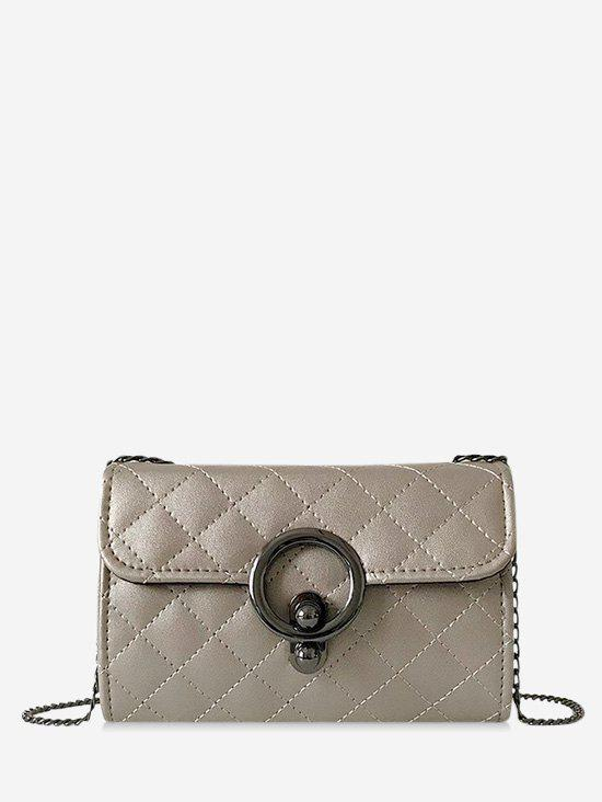 Circle Hasp Chain Quilted Crossbody Bag - SILVER