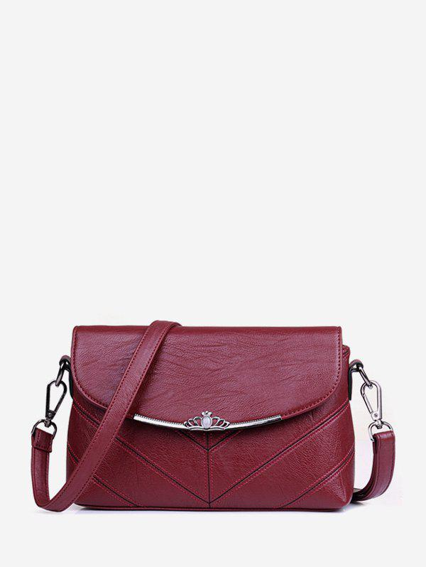 Crown Solid Cross Body Bag - RED WINE