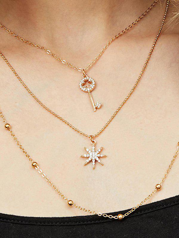 Rhinestone Key Star Pendant Layered Necklace - GOLD