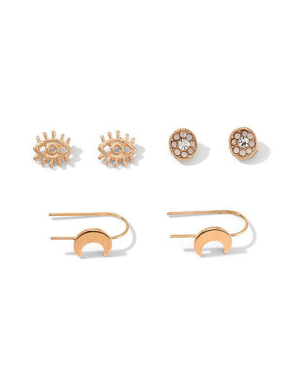 3Pairs Hollow Eye Moon Floral Earrings Set - GOLD