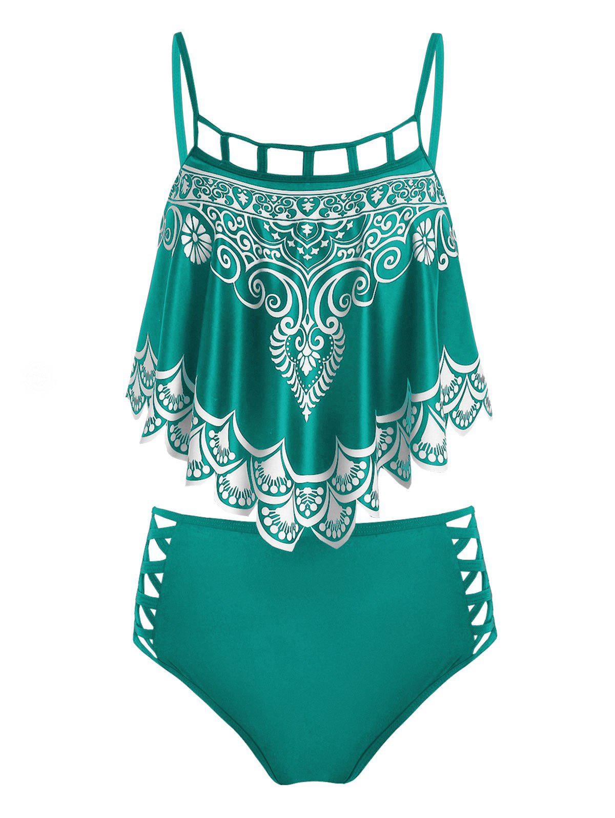 Tribal Print Crisscross Tankini Swimwear - MEDIUM TURQUOISE L