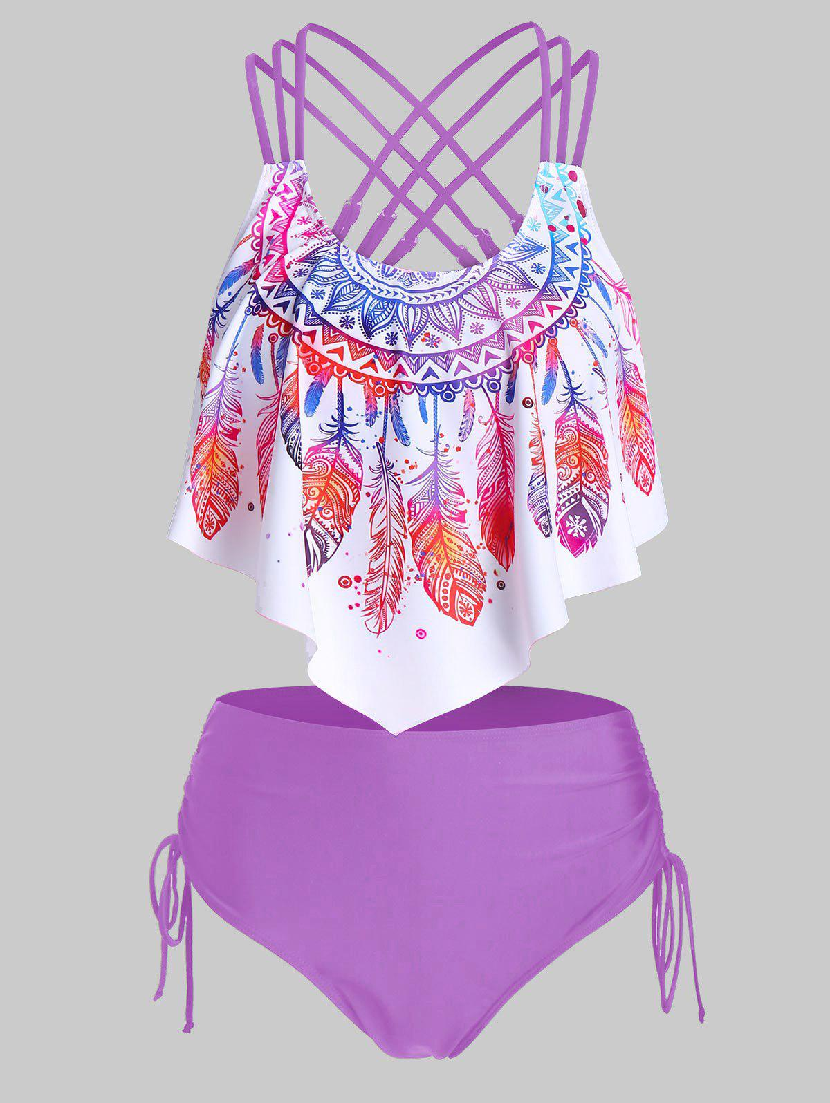 Feather Print Strappy Cinched Tankini Swimwear - HELIOTROPE PURPLE 3XL