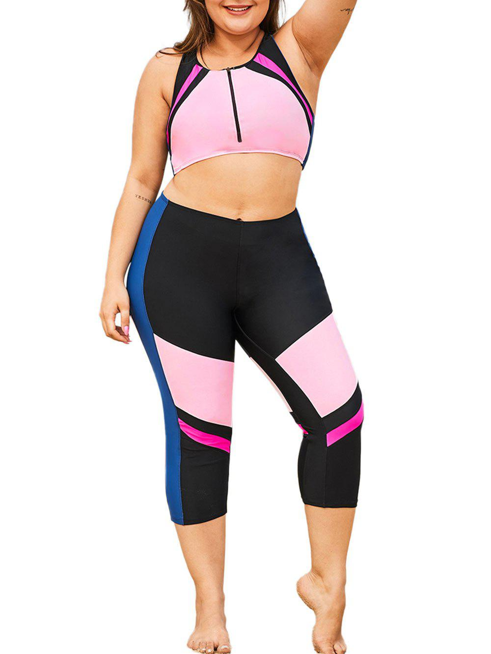 Color Block Zip Front Mesh Panel Plus Size Two Piece Swimwear - PINK 3X