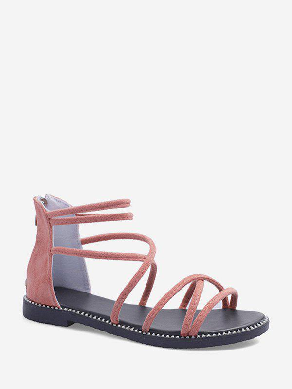 Strappy Suede Ankle Strap Flat Sandals - LIGHT PINK EU 40
