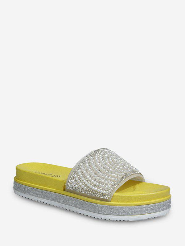 Round Faux Pearl And Rhinestone Platform Slides - YELLOW EU 38