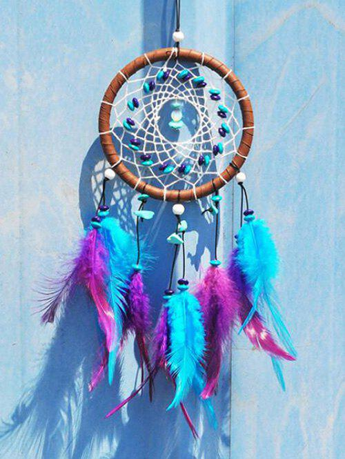 Home Decoration Beaded Indian Feather Dream Catcher - LIGHT SLATE BLUE