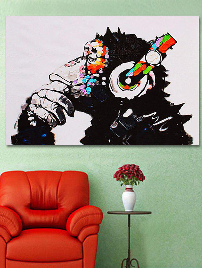 Orangutan With Earphone Pattern Unframed Painting - multicolor A 16 X 24 INCH