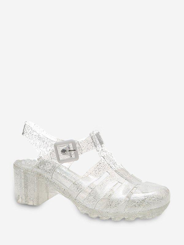 Closed Toe Clear Chunky Heel Sandals - SILVER EU 38