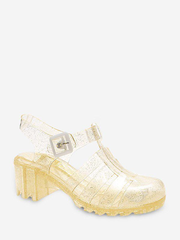 Closed Toe Clear Chunky Heel Sandals - GOLD EU 38