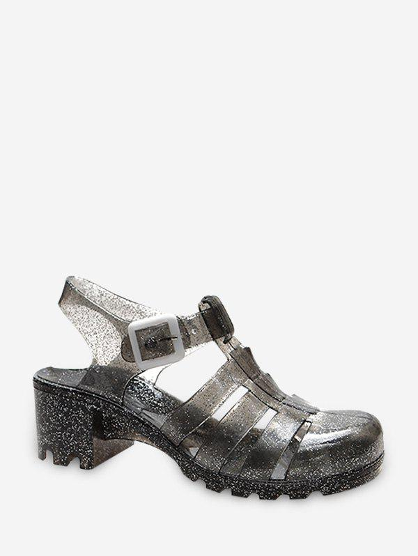 Closed Toe Clear Chunky Heel Sandals - GRAY EU 39
