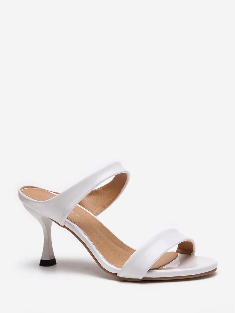 Solid Color PU Stiletto Heel Sandals - WHITE EU 39