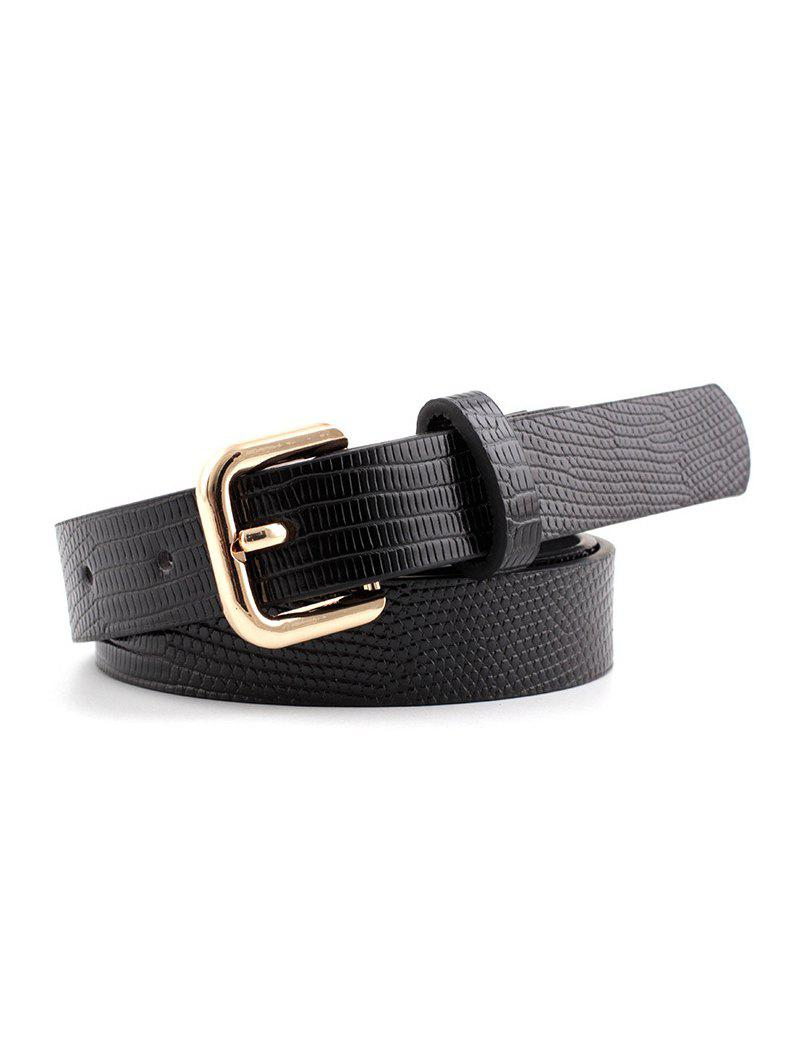 Square Pin Buckle Textured Jeans Belt - GOLD