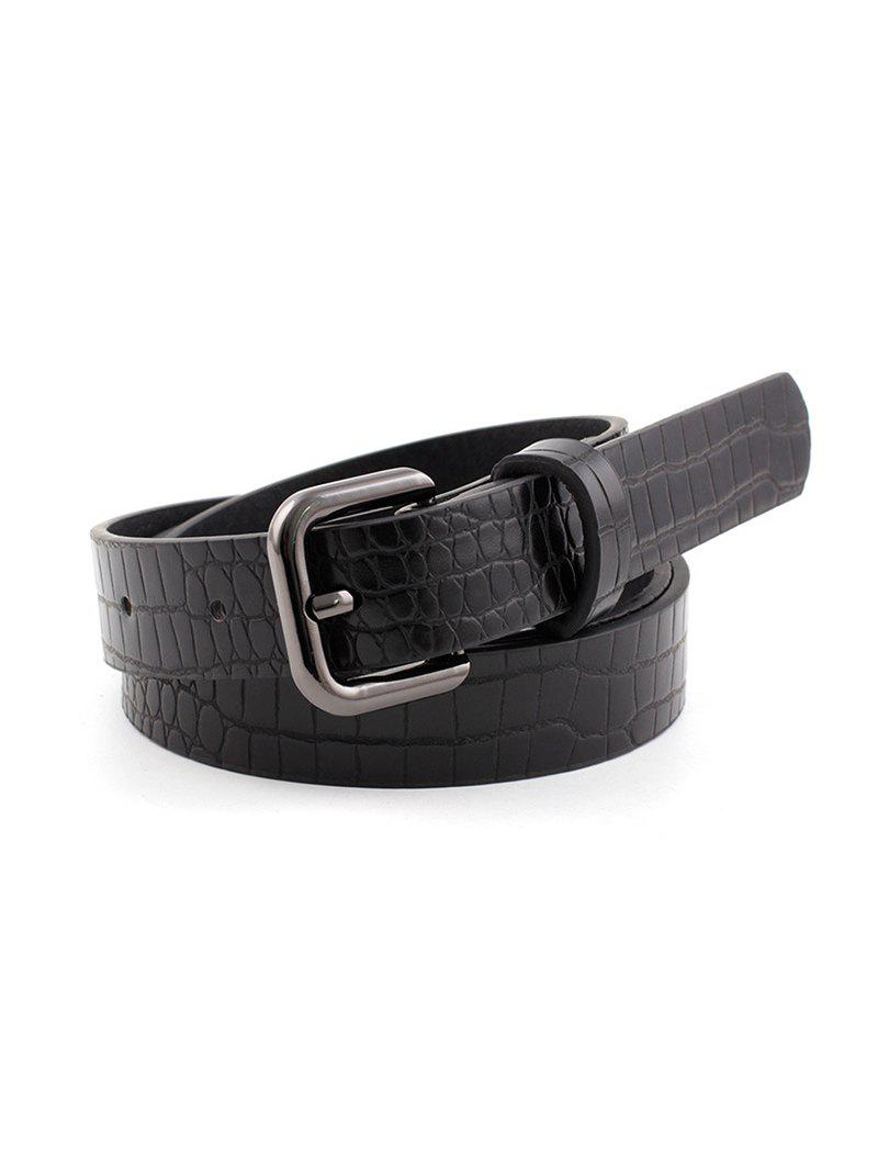 Square Pin Buckle Textured Jeans Belt - NIGHT