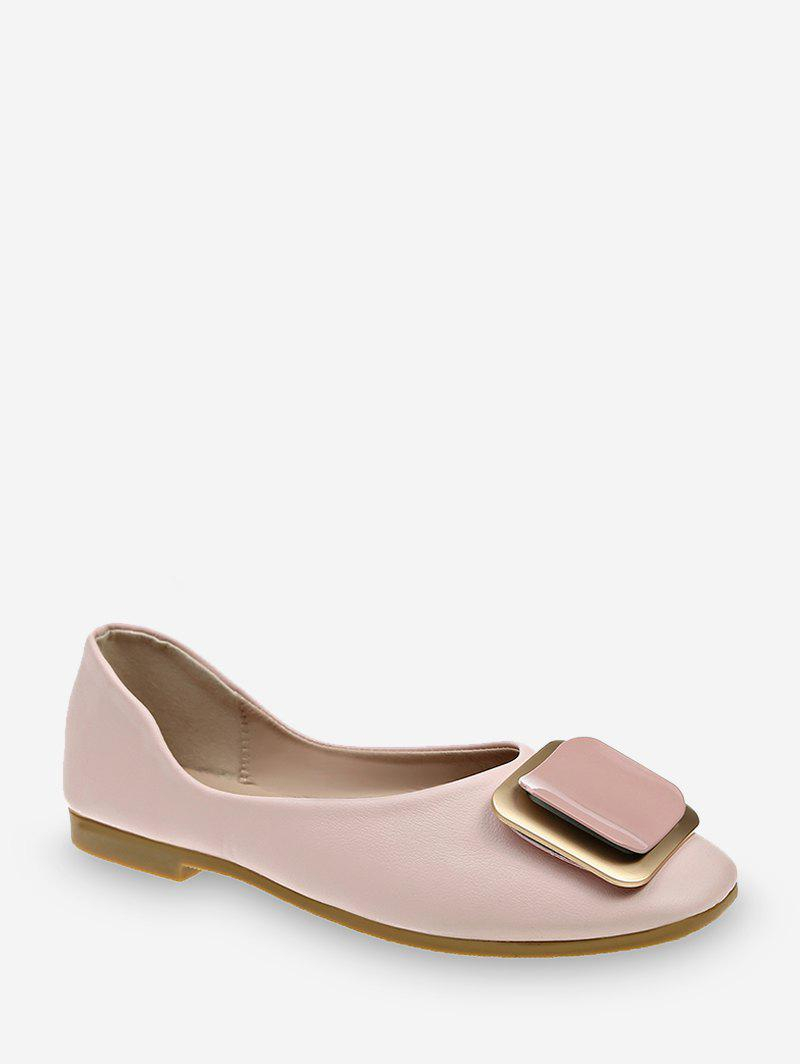 Square Buckle Leather Loafer Flats - LIGHT PINK EU 40