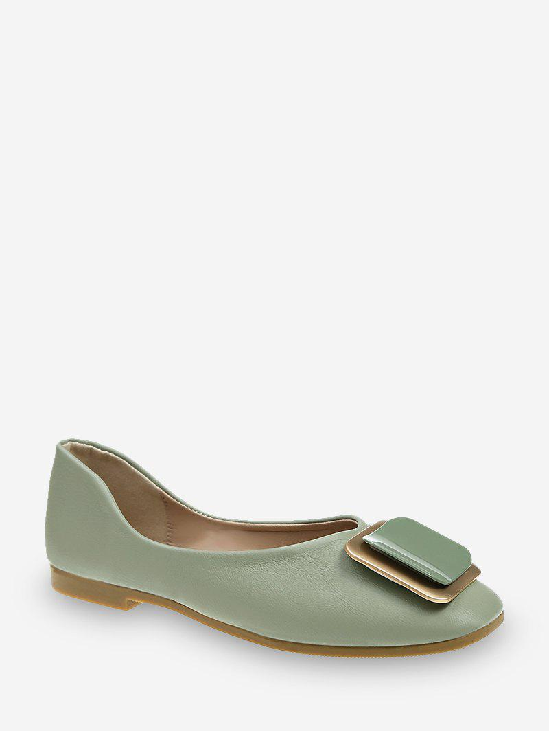 Square Buckle Leather Loafer Flats - DARK SEA GREEN EU 39