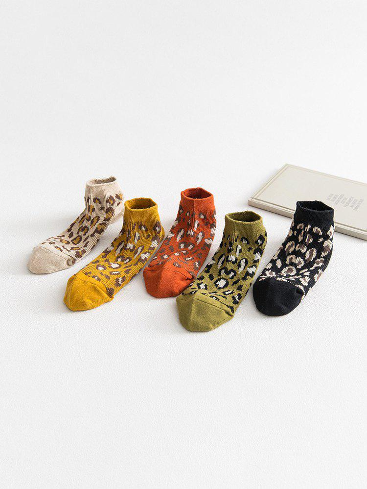Leopard Print 5 Pairs of Socks - multicolor A