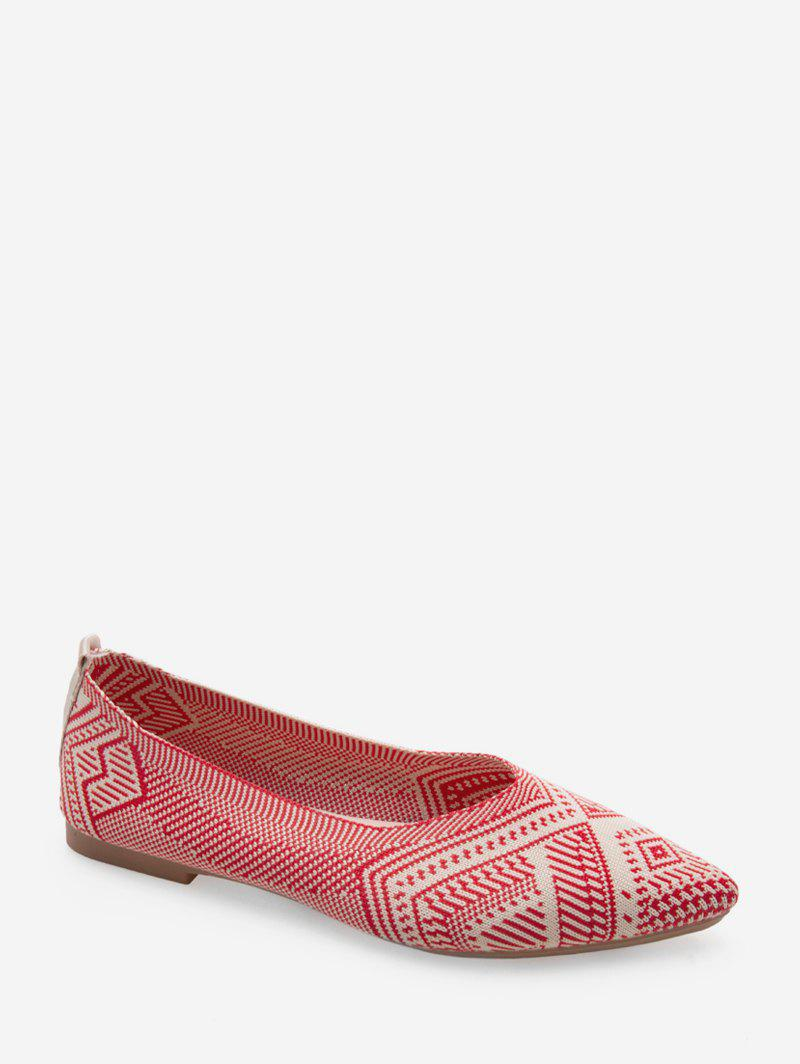 Geo Print Pointed Toe Ballet Flats - LAVA RED EU 39