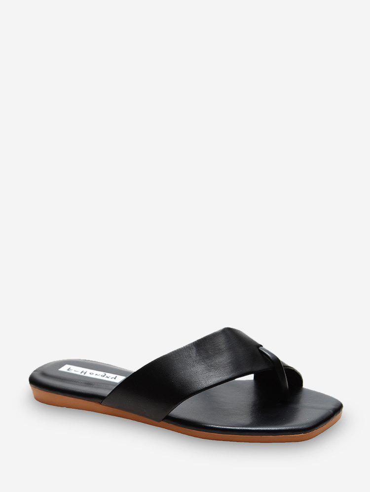 Toe Ring Leather Flat Slides - BLACK EU 40
