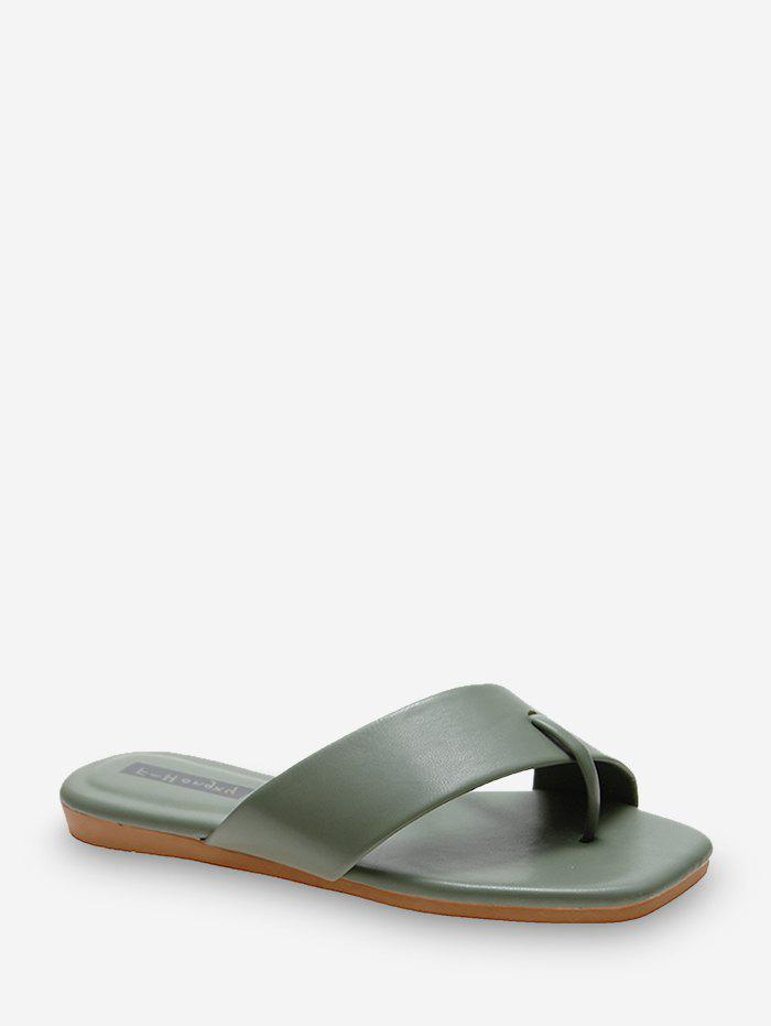 Toe Ring Leather Flat Slides - MEDIUM FOREST GREEN EU 40