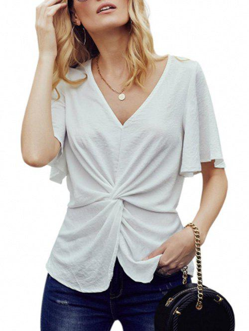 Flutter Sleeve Twisted Front Chiffon Blouse - WHITE XL