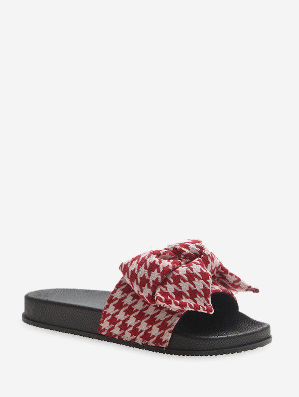 Bowknot Houndstooth Print Casual Flat Slides - LAVA RED EU 39