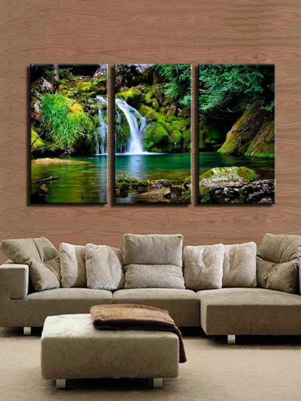 Waterfall River Pattern Unframed Split Paintings - multicolor A 3PCS X 16 X 24 INCH( NO FRAME)