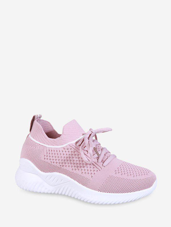 Striped Breathable Mesh Sport Sneakers - LIGHT PINK EU 40