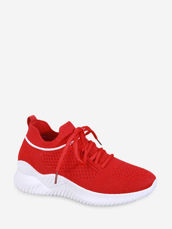 Striped Breathable Mesh Sport Sneakers - LAVA RED EU 40