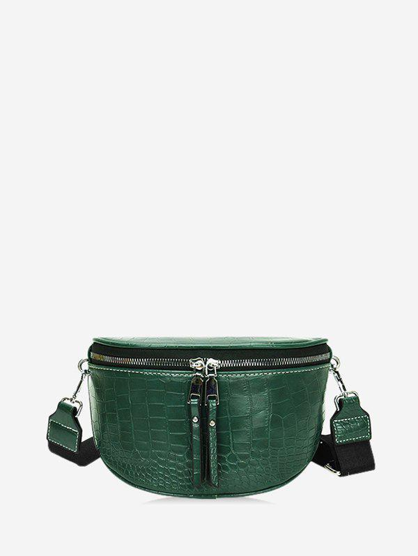 Textured Solid Wide Strap Crossbody Bag - GREEN