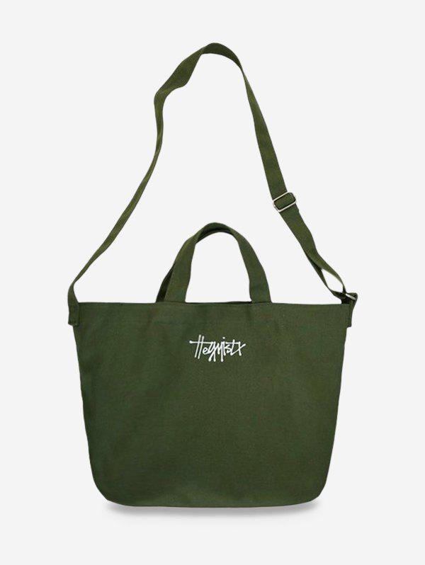 Casual Letter Canvas Crossbody Bag - ARMY GREEN