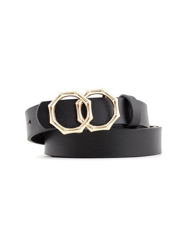 Bamboo Design Circles Buckle Jeans Belt - BLACK