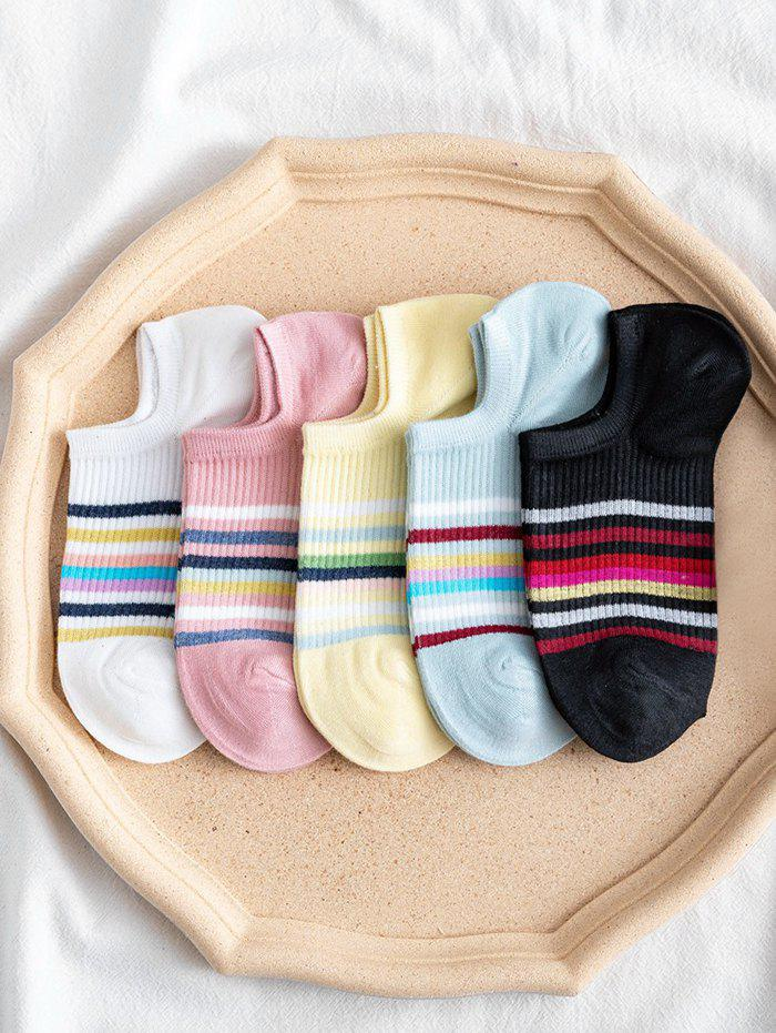 5Pairs Colorful Stripes Cotton Invisible Socks - multicolor A