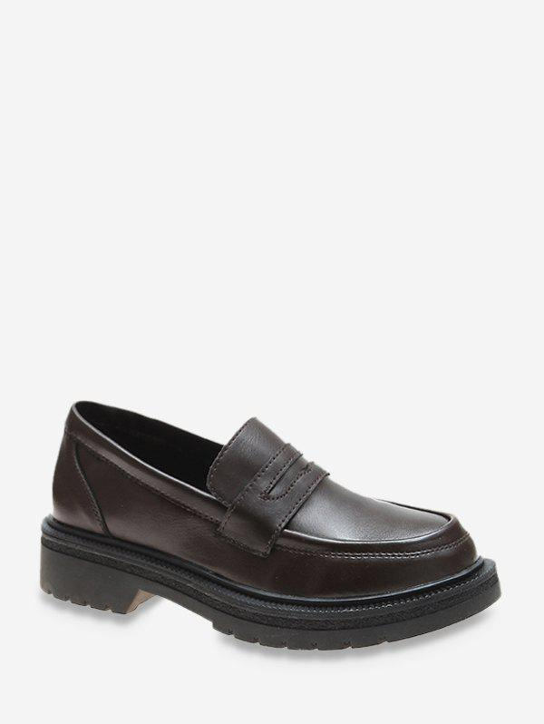 Plain Low Heel Leather Loafer Shoes - DEEP BROWN EU 38