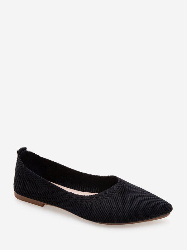 Pointed Toe Ballet Flat Shoes - BLACK EU 38