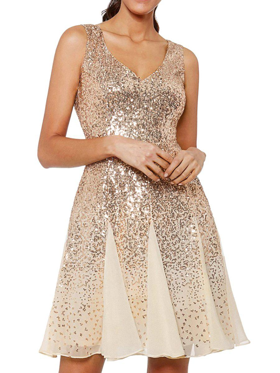 Mesh Sparkly Sequined Party Dress - CHAMPAGNE GOLD L