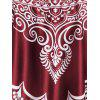 Tribal Print Crisscross Tankini Swimwear - RED WINE XL
