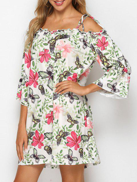 Butterfly Floral Tie Shoulder Mini Dress
