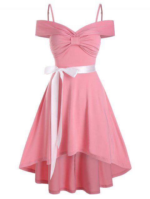 Bow Ruched High Low Belted Vintage Dress