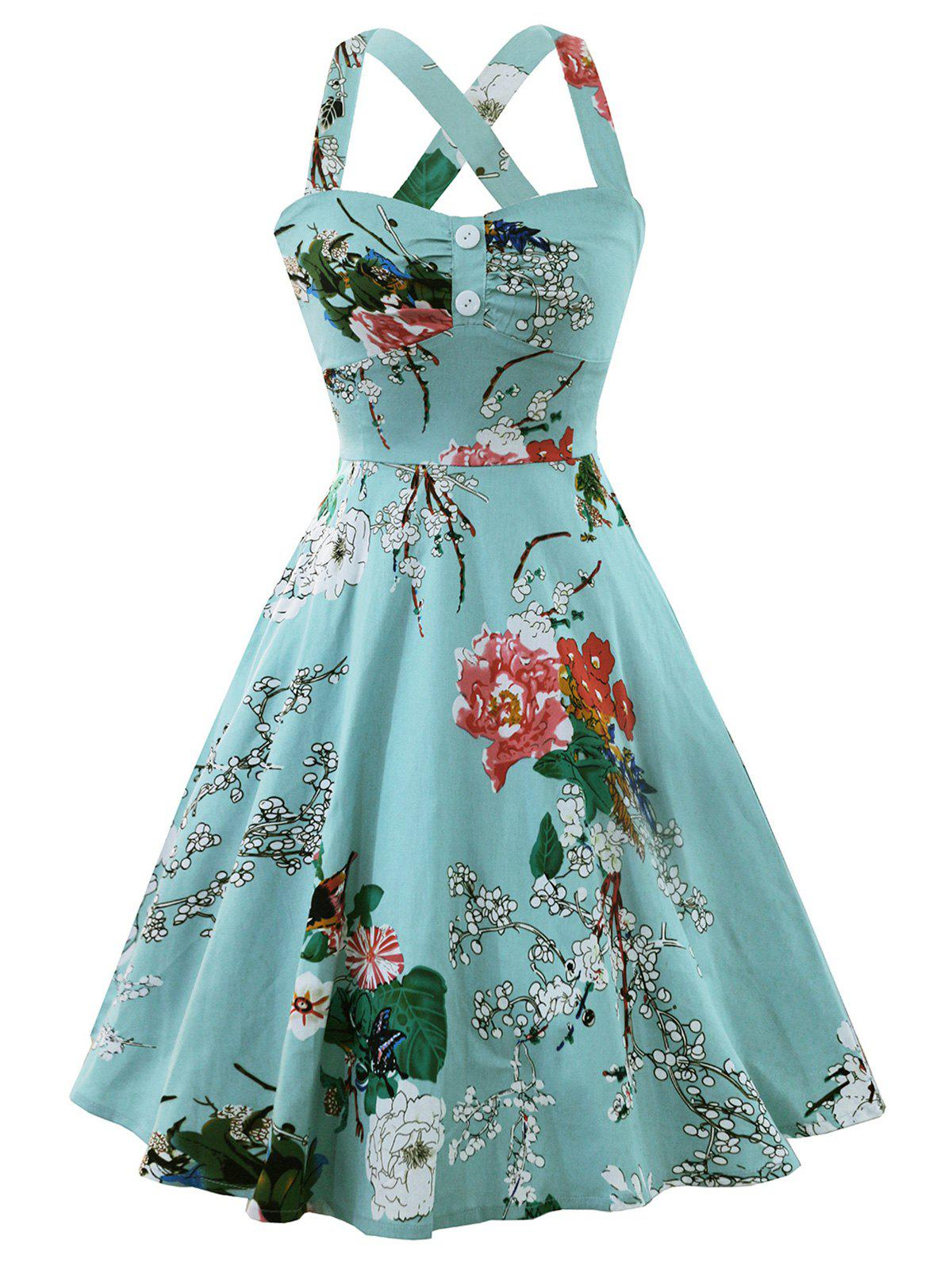 Cross Back Flower Print Vintage Dress - CYAN OPAQUE 2XL