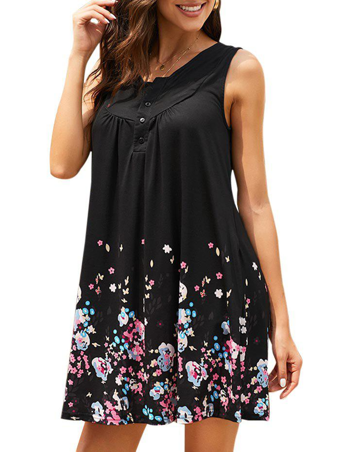 Half Buttoned Sleeveless Ditsy Floral Tunic Dress - BLACK M